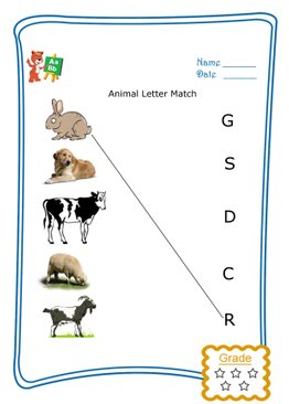 Match the Letter - Animals