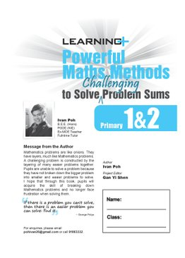Learning+ Powerful Maths Methods to Solve Challenging Problem Sums Primary 1 & 2