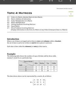 Exam Buddy Elementary Mathematics Sec 4 (2020 Edition) Topic 4: Matrices