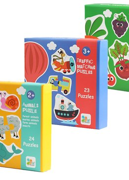 2-piece Matching Puzzles (Bilingual) - Animal/ Traffic/ Vegetables