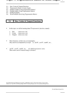 Exam Buddy Elementary Mathematics Sec 2 (2020 Edition) Topic 9: Trigonometric Ratios of Acute Angles