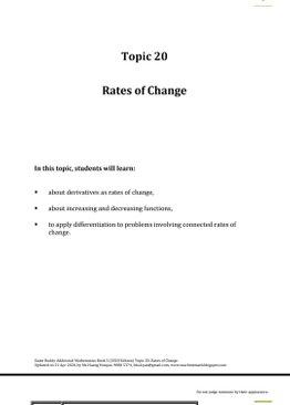 Exam Buddy Additional Mathematics (2020 Edition) Topic 20: Rates of Change