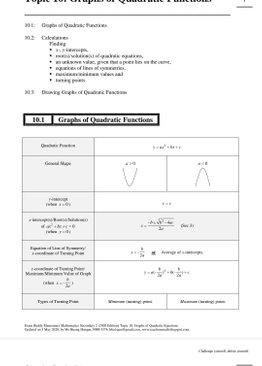 Exam Buddy Elementary Mathematics Sec 2 (2020 Edition) Topic 10:  Graphs of Quadratic Functions
