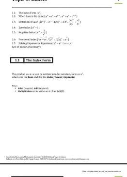 Exam Buddy Elementary Mathematics Sec 3 (2020 Edition) Topic 1: Indices