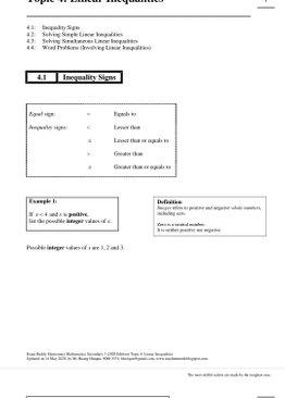 Exam Buddy Elementary Mathematics Sec 3 (2020 Edition) Topic 4: Linear Inequalities