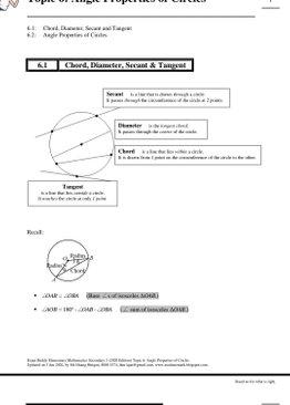 Exam Buddy Elementary Mathematics Sec 3 (2020 Edition) Topic 6: Angle Properties of Circles