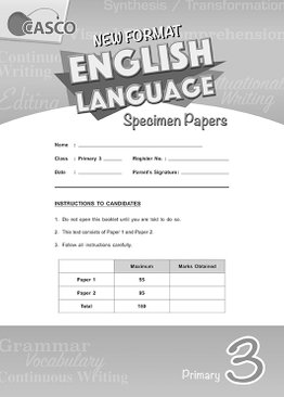 Primary 3 New Format English Language Specimen Paper