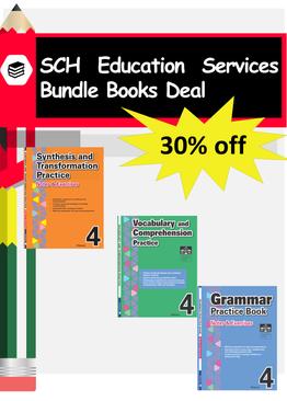 3-in-1 Primary 4  Grammar & Vocabulary and Comprehension book bundle
