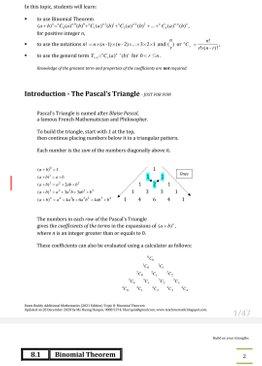 Exam Buddy Additional Mathematics (2021 Edition) Topic 8: Binomial Theorem