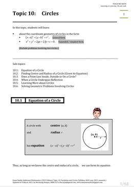 Exam Buddy Additional Mathematics (2021 Edition) Topic 10: Circles