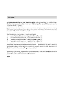 Primary 1 Mathematics CA & SA Specimen Papers (2nd Ed)