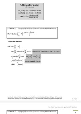 Exam Buddy Additional Mathematics (2021 Edition) Topic 14: Further Trigonometric Identities