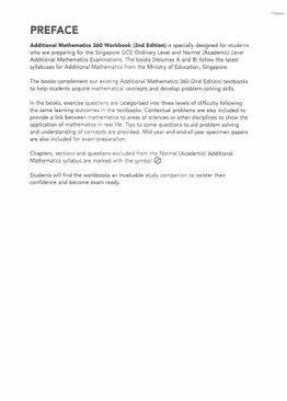 Additional Maths 360 Workbook Vol A