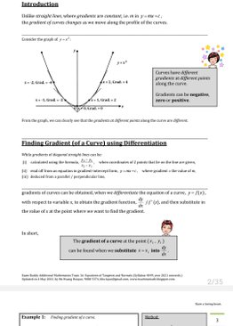Exam Buddy Additional Mathematics (2021 Edition) Topic 16: Equations of Tangents and Normals
