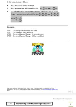 Exam Buddy Additional Mathematics (2021 Edition) Topic 17: Rates of Change