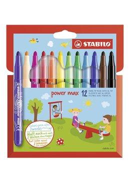 STABILO Felt Tip Pen Power Max Wallet of 12 Assorted Colours
