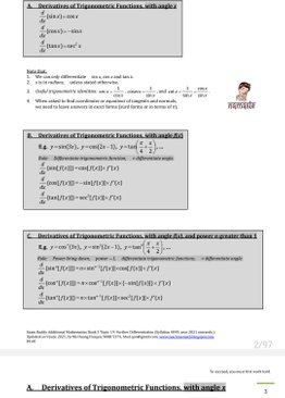 Exam Buddy Additional Mathematics (2021 Edition) Topic 19: Further Differentiation