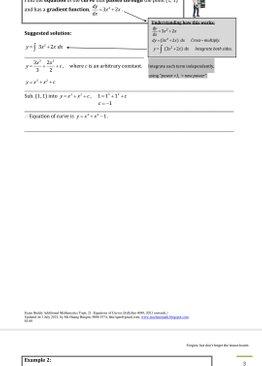 Exam Buddy Additional Mathematics (2021 Edition) Topic 21: Equations of Curves
