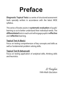 P1 Diagnostic Maths Topical Tests (2021 Ed)