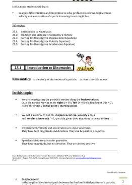 Exam Buddy Additional Mathematics Syllabus 4049 Topic 23: Kinematics