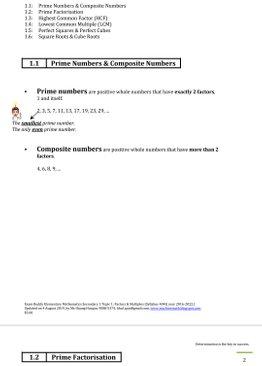 Exam Buddy Elementary Mathematics 4048 Sec 1 Topic 1: Factors & Multiples