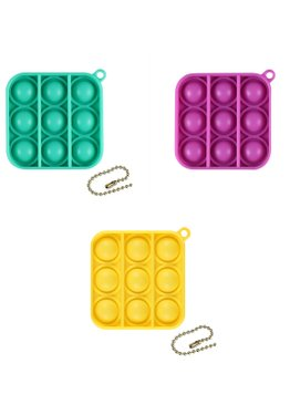 Play N Learn Educational Fidget Toy Stress Reliever  IQ Pop Bubble Keychain 3 Pieces Per Set