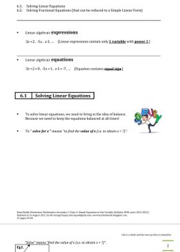 Exam Buddy Elementary Mathematics 4048 Sec 1 Topic 6: Simple Linear Equation in One Variable