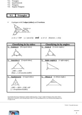 Exam Buddy Elementary Mathematics 4048 Sec 1 Topic 9: Angles and Polygons